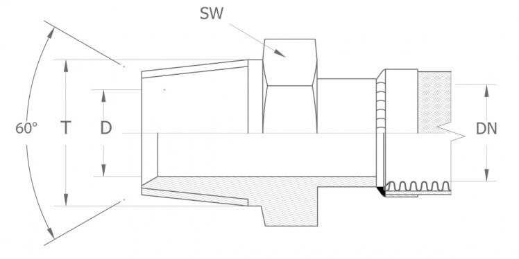 Szkic techniczny: AGN - gwint NPT stożkowy / gwint skośny NPTF