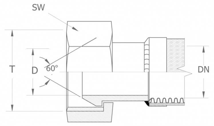 Szkic techniczny: DKR - armatura gwint calowy BSP