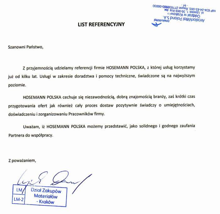 ArcelorMittal - list referencyjny dla Hosemann Polska