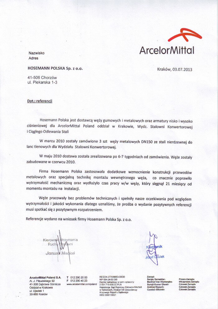 ArcelorMittal - referencja dla Hosemann Polska