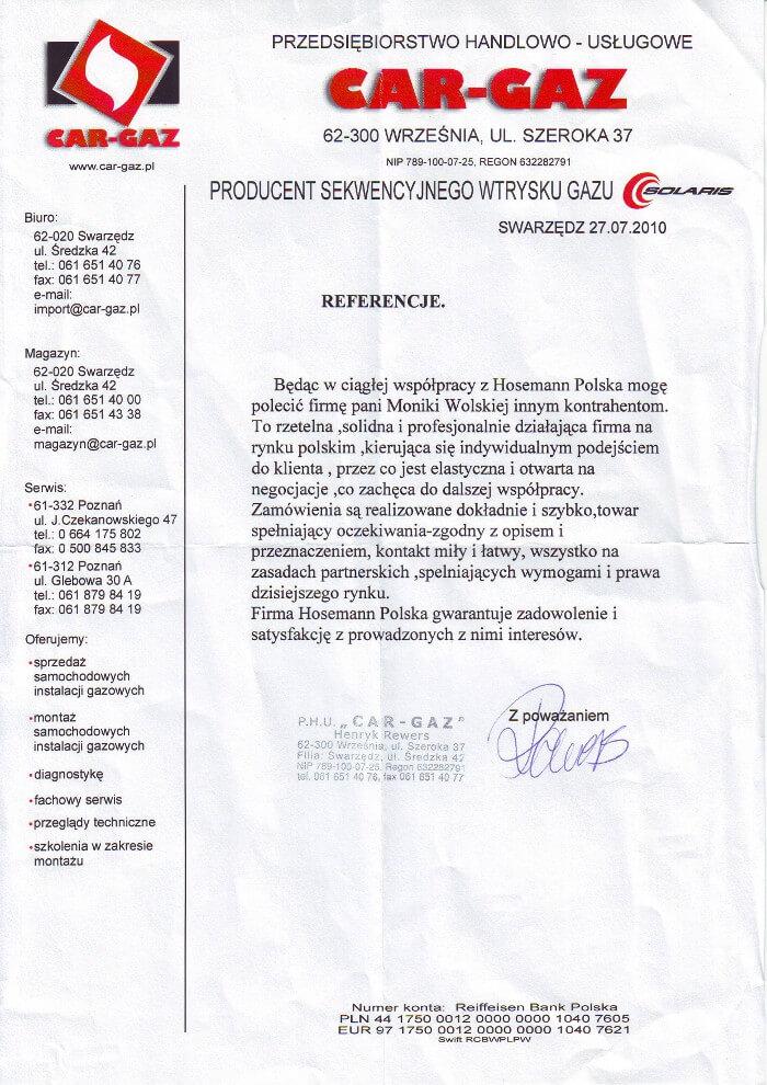 Car Gaz - referencja dla Hosemann Polska