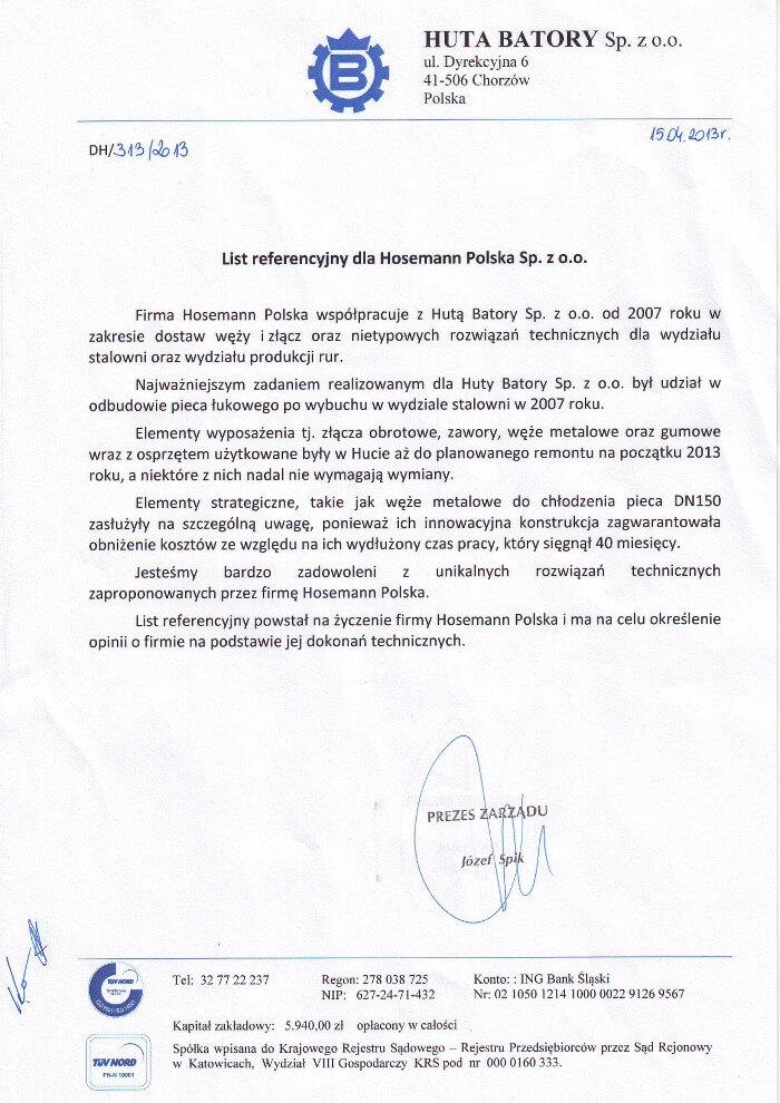 Huta Batory - referencja dla Hosemann Polska
