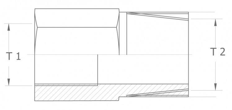 Redukcja (adaptor) GW/GZ - szkic techniczny