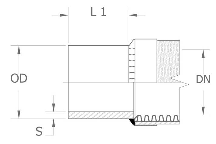 Rysunek techniczny króćca w odmianie ciężkiej (BES)