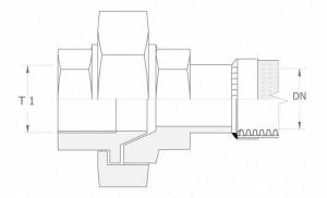 Szkic techniczny: śrubunek prosty uszczelnienie stożkowe GW - UNION IG