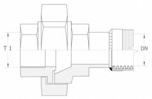Szkic techniczny: śrubunek prosty uszczelnienie czołowe GW - union