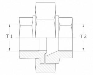 Szkic techniczny: śrubunek prosty uszczelnienie czołowe GW/GW - union IG