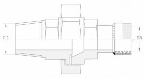 Szkic techniczny: śrubunek prosty uszczelnienie czołowe GZ
