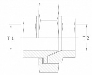 Szkic techniczny: śrubunek prosty uszczelnienie stożkowe GW/GW - union