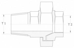 Szkic techniczny: śrubunek prosty uszczelnienie stożkowe GZ/GW - union