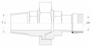 Szkic techniczny: śrubunek prosty uszczelnienie stożkowe GZ - union