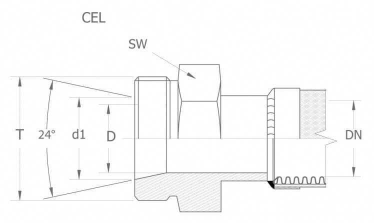 Szkic techniczny CEL - armatura gwint metryczny - lekki