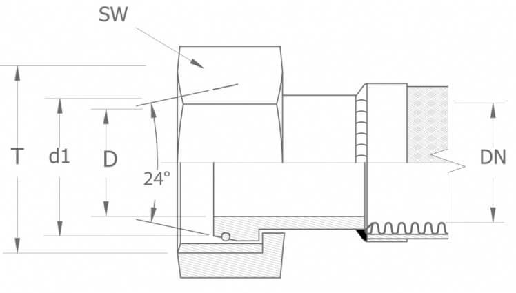 Szkic techniczny DKOS - armatura gwint metryczny - ciężki